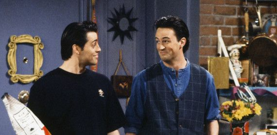 "FRIENDS -- ""The One Where Rachel Finds Out"" Episode 124 -- Pictured: (l-r) Matt LeBlanc as Joey Tribbiani, Matthew Perry as Chandler Bing -- (Photo by: Alice S. Hall/NBC/NBCU Photo Bank via Getty Images)"