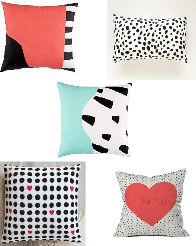 black pillows